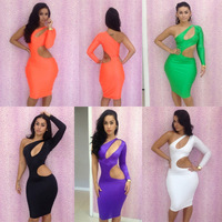 5 Colors New Arrival Sexy Nightclub Bandage Dress Summer 2013 Sexy Women's Party Evening One Shoulder Mini Dress Orange Black