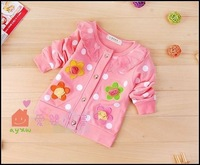 Free shipping 4pcs/lot cotton Hot Sweet flower girls long-sleeved coat/contracted girls coat