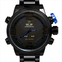 Weide Fashion Sports Blue Theme Dual Time Display Black Stainless Steel Wrist Watch | WEI0076