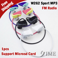 W262 Fashion sport mp3 player with FM radio,high High quality stereo with retail package,support microsd,Free Drop Shipping,