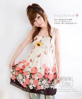 5pcs/lot summer sexy rayon print pleated strapless braces chiffon casual mini dress