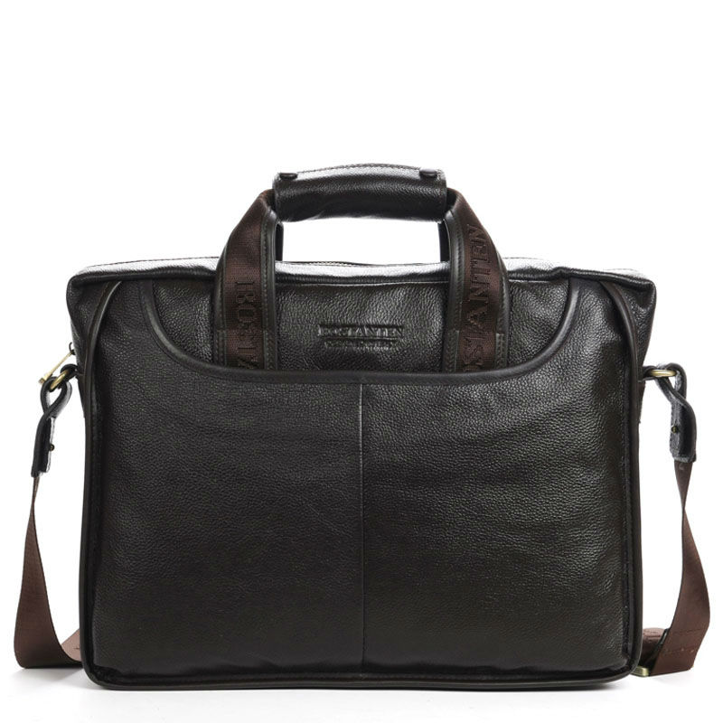 "100% GENUINE LEATHER cowhide Shoulder leisure men's bag business messenger portable briefcase Laptop large Purse 14"" Handbag(China (Mainland))"