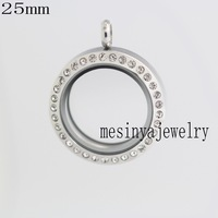25mm magnet 316L stainless steel genuine czech crystal glass locket for floating charms