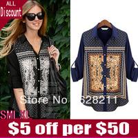 2013 Women Fall Wave Floral Pattern Size long Sleeved Shirt Chiffon Shirt 736 Blue Black Shirt Size SMXXL