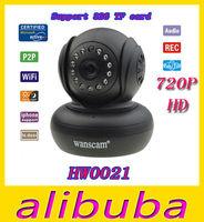 wanscam HW0021 1.0 Megapixel 720P HD TF-Card Support IR Cut H.264 Dual Audio Wireless Network Pan/Tilt NightVision  IP Camera