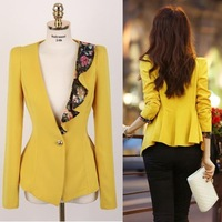 Flower Dovetail Ruffle Collar Female Slim Blazer Outerwear Women Suit Foldable Casual Jacket One Button Shawl Cardigan Coats Big