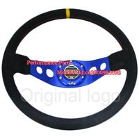 Universal Suede Leather Blue Color Sparc Steering Wheel Sport Car Steering Wheel