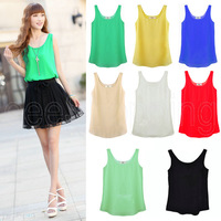 Q316 Summer Fashion Ladies Women Solid Design Chiffon Vest Tank Tops Camis Sleeveless Blouses Candy Colors Free Ship Wholesale
