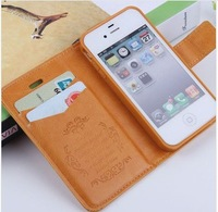 2013 new fashion luxury leahter material 8 colours mobile phone case for iphone 5 with 2 card holder/160