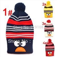 "Retail New style ""Bird"" design cotton Warm long cap baby hat Children 's knitted hats Boys Girls caps children's caps"