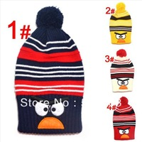"Retail New style ""Bird"" design cotton Warm long cap baby hat Children 's knitted hats Boys Girls caps children's caps"