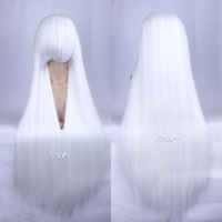 Free Shipping 2013 100cm long  silvery white universal  straight wig cos wigs