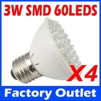 4pcs/lot 3W E27 Socket LED Plant Grow Growth Hydroponics Light Lamp Bulb RED and BLUE Color 60 LEDs AC220V Indoor Lights
