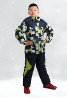 boy's clothing set children Geometric Patern jacket wadded pants ski suit winter thickening twinset thermal costumes