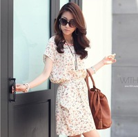 2013 New Korean Version of Women Bat Sleeve Loose Big Yards Short Sleeve Floral Dresses Summer Skirt women's dresses