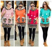 new fashion spring autumn winter cotton long sleeve plus size thicken warm long design hoodies coat women hoody sweatshirt 2015