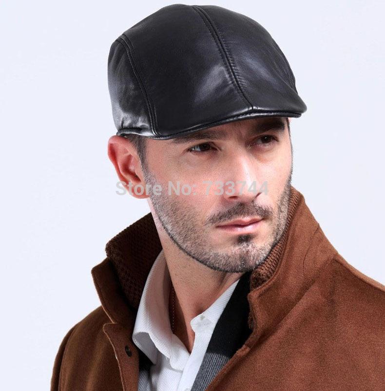 Uomo in vera pelle di pecora berretto nero/golf/beanie/cappello da baseball - -Uomo-in-vera-pelle-di-pecora-berretto-nero-golf-beanie-cappello-da-baseball-cap-