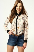 free shipping 2013 Women's new Elegant long sleeve Chiffon pathcwork pringting flower Turn down black collar  TopS  Blouse shirt