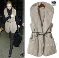 new 2013   fur vest women  fox fur vest sashes  fur vest  faux fur vest f   vest women whether hooded coat