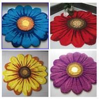"Free shippng handmade yellow chrysanthemum slip-resistant doormats/ground mat/resistant mat /carpet""chrysanthemum""  65*65cm"