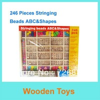 Free Shipping 246pcs Stringing Beads ABC&Shapes Wooden Toys/Educational Toys/Child early learning Toys for Christmas Gifts