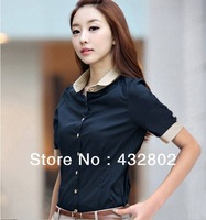 Free Shipping, Leisure Suit Women Shirt, Pure Cotton Shirts, Fashion Joker Black S M L XL XXL Yards Short Sleeve Shirt