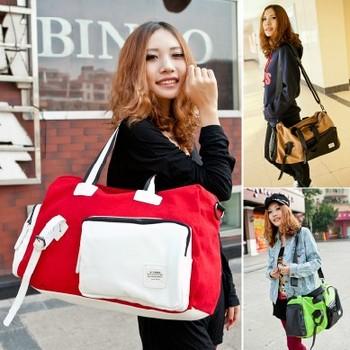 Fashion Large Capacity Sports Gym Totes Canvas PU Shoulder Bag Travel Handbag for Young Women Girls / Six Colors