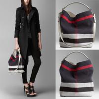 Famous Brand B Female Handbag New arrival Plaid Canvas HOBO Bag one Shoulder Bags Fashion Totes Bucket Bag Women Messenger Bags