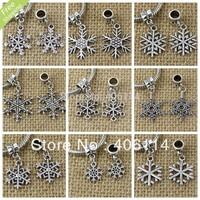 180pcs Antique Silver Zinc Alloy Christmas Snowflakes Charm Pendants Beads Fit European Bracelets DIY 12-Styles