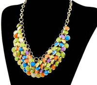 Free shipping 2014 new jewelry punk vintage royal fashion acrylic multi-layer fish scale necklace female chain women multicolor