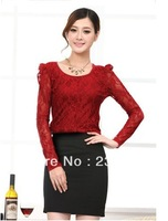 Free shipping  2014 autumn women's top ol elegant pullover slim solid color lace long-sleeve shirt female