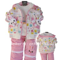 Children's clothing set baby gilr's autumn  t-shirt +jacket+ pant 3-piece set ot baby sets 80 90 100