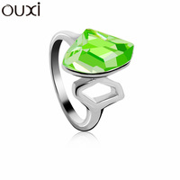RiA005 Made With Verified Swarovski Elements Crystal Green Ring Thick White Gold Plated Free Shipping