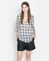 Women Plaids Prints Leisure Pockets Blouse Ladies fashion Shirts, SW1087-G02