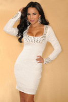 2014 Hot Sale Fashion Women White Pleated Studded Long Sleeves Summer Dress Sexy Mini Autumn Casual Dress Drop Shipping