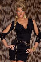 Charming Sexy Summer Cowl-neck Slit Shoulder Mini Lady Dress Black Cocktail Prom Clubwear autumn dress Drop Shipping
