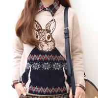 Fashion Korean crochet knitted women coat velvet Print Rabbit sweater thickening pullover loose sweater key011