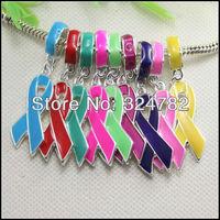 100PCS Silver tone Enamel Ribbon Breast Cancer Awareness Big Hole Beads for European Bracelet / Pendant jewelry findings