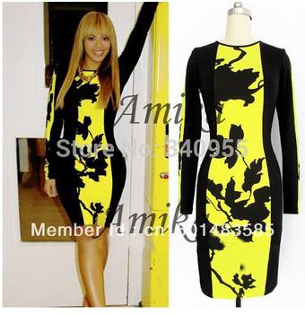 2013 Autumn Womens Celeb O-Neck Long Sleeve Contrast Floral Print Color Block Stretch Bodycon Dress