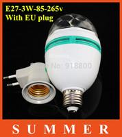 RGB Full Color 3W E27 LED Bulb  Effect DJ Disco Light Bulb party Stage Lighting  +E27 Socket 2-Pole Jack E27 Base Socket