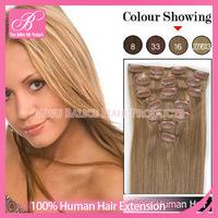 "Free Shipping 15""18""20""22""24"" 100% Virgin Remy Human Hair Clip in hair  Extensions #16 Dark Honey Blonde Hair 70g  80g 100g 110g"
