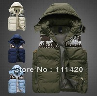 Men's Sleeveless Patchwork Thick Warm Vest Deer Knitted Coat With Hoode Vest