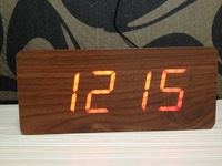 Red LED wooden wood desktop digital alarm clock display/Temperature thermometer voice activated Battery/wall charge/ 210*90*45mm
