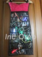 Large 48 pocket Two Sides Black Pink Dress Hanging Closet Jewellery Organizer Ring Bracelet Necklace Storage Accessories Display