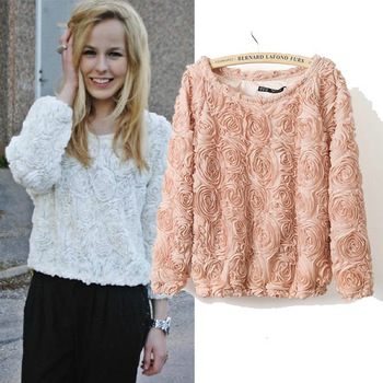 New 2014 Fashion 3D Rose Lace Flower Chiffon Shirt Top Women Outerwear  Long Sleeve Rose Floral White Nude Chiffon Sweater