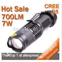 7W 350lm Lumen CREE Q5 Focus Adjust Zoom LED mini Flashlight torch free shipping FLT-019