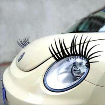 Free Shipping 2pcs 3D Charming Black False Eyelashes Fake Eye Lash Sticker Car Headlight Decoration Funny Decal For Beetle(China (Mainland))