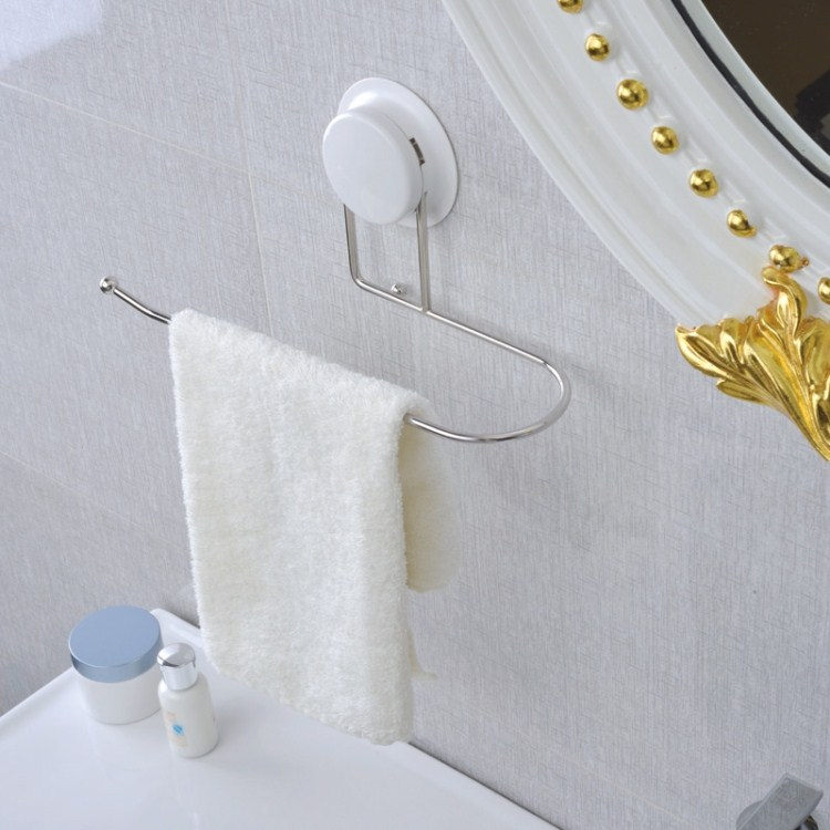 New 2014 1pcs Suction Cup Stainless Steel Towel bars for Kitchen or Bathroom Sucker Towel hanger Novelty Household Towel Rack(China (Mainland))