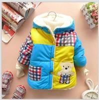 2014 New children outerwear baby boys winter warm plaid hoodies cartoon bear fleece lining outerwear BEBE coat boy jackets