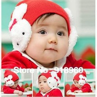 new Autunm&winter baby Kids caps/Infant earflaps beanie hat Toddler lovely rabbit Skull Head Hat/1-3 Years old/free shipping/AOE